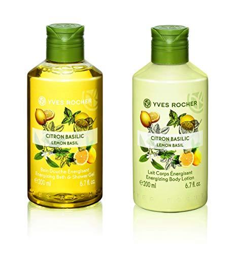 Yves Rocher Les Plaisirs Nature Energizing Bath & Shower Gel - Lemon Basil, 200 ml./6.7 fl.oz.+ Yves Rocher Les Plaisirs Nature Energizing Body Lotion - Lemon Basil, 200 ml./6.7 fl.oz.