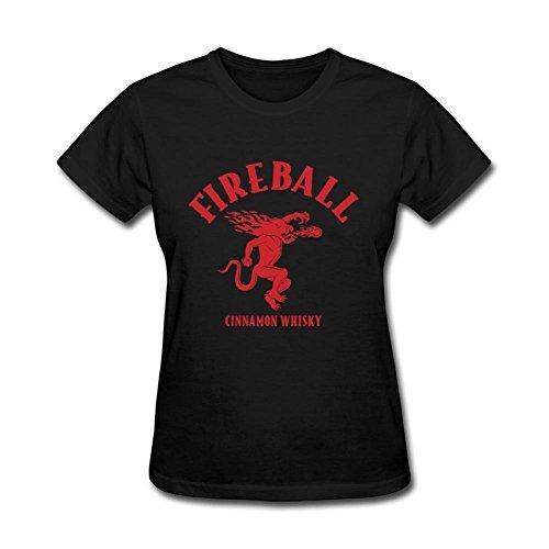 JuDian Fireball Cinnamon Whisky Logo T shirt For Women (Womens Fireball Whiskey Shirt)