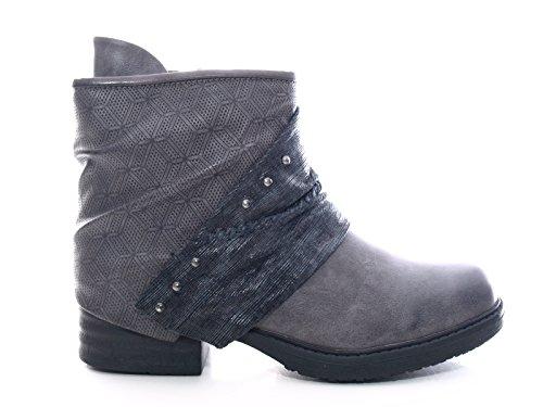 Damen Winter Stiefelette Boots Grau warm gefüttert # 3127
