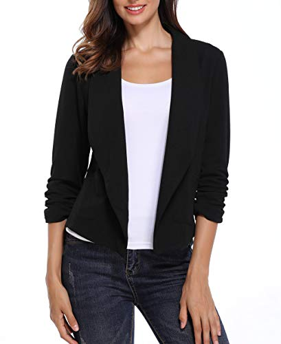 Anienaya Women's Blazer 3/4 Ruched Sleeve Open Front Work Office Cardigan with 2 Patch Pocket