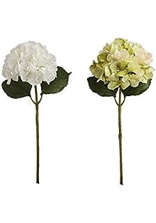 Sia white hydrangea artificial flower amazon kitchen home sia home fashion sia hydrangea whitegreen 2 stems 48cm mightylinksfo