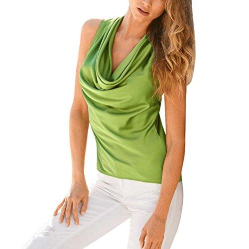 unita da donna maniche in smanicato Verde Camicetta Top tinta senza Rcool Elegante 8wzqF