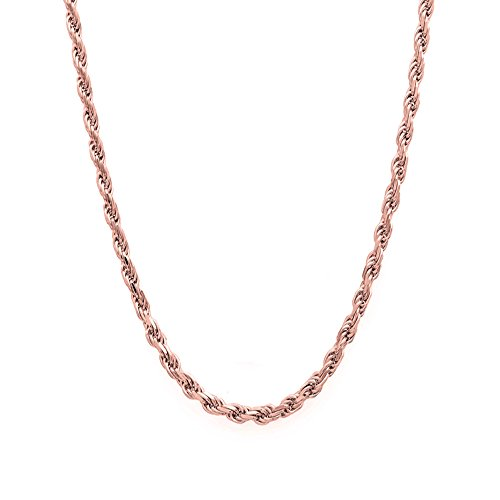 14k Rose Gold Diamond Cut Hollow Rope 016 2MM 22'' Chain by Decadence
