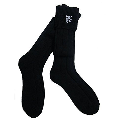 Black Kilt Hose With Silver Lion - Made In UK Size 9.5-13 ()