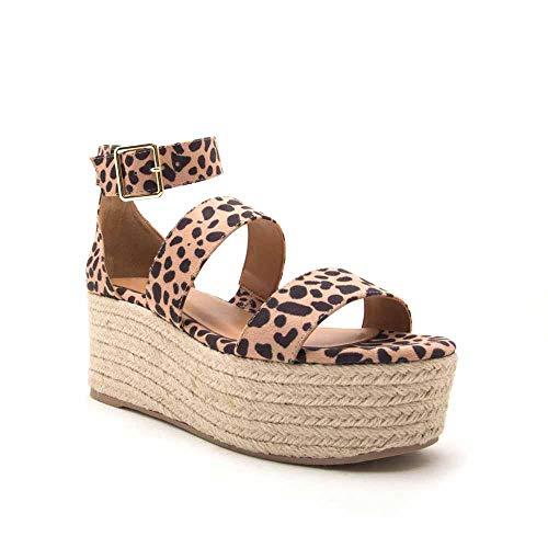 Liyuandian Womens Open Toe Espadrille Ankle Strap Boho Lace Up Rivet Flatform Sandals (39 EU-10.31in(Foot Length)-8 US, D Leopard Print)