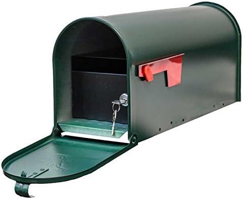 Green Qualarc E1-MLBX-LKIT-GRN Rust Proof Galvanized Mailbox with Locking Insert Steel Latch and Red Aluminum Flag
