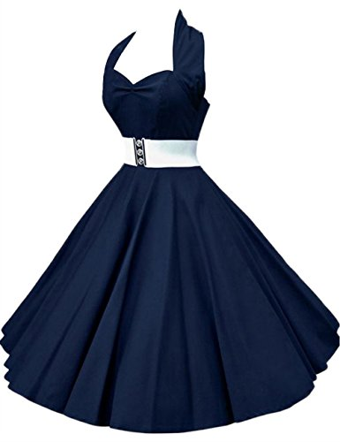 VKStar Women's Chic Ruched Bust Halter 1950s Hepburn Vintage Swing Rockabilly Tea Dress with Removable Belt Navy blue M