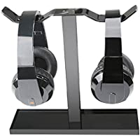 Foccoe Double headphone stand,Modern Fashion Headphone Holder / Desk Display Hanger / Headphone Bracket Suitable For All Headphone Sizes