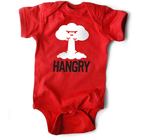 WRYBABY Funny Baby Bodysuit | Hangry | Red, 6-12M (Whats The Best Pregnancy Test To Use)