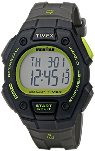 Timex Men's T5K824 Ironman Classic 30 Full-Size Gray/Black/Green Resin Strap Watch