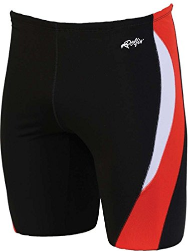 Dolfin Men's Reliance Colorblock Jammer Swimsuit (Black/Red/White, 24) ()