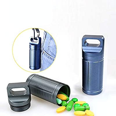 Gift Pack CLINE Outdoor Survival Waterproof Pill Bottle EDC Container,Large Capacity 141mm Aluminum Dry Storage Box Airtight Case Camping Essentials