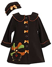 Bonnie Jean Baby-girls Applique Turkey Thanksgiving Winter Coat & Hat Set