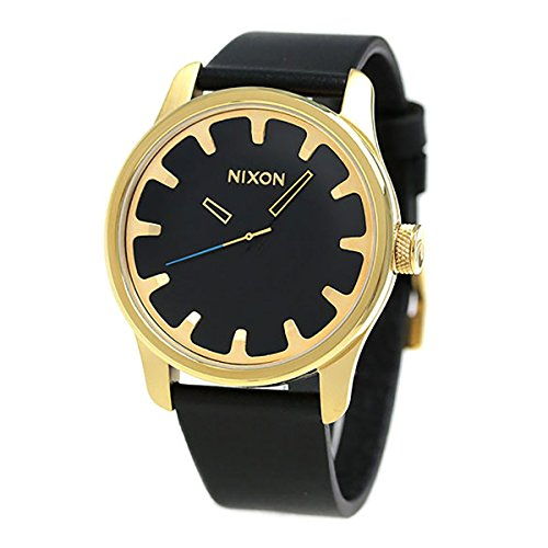 Nixon Unisex The Driver Leather Collection Gold/Black Watch