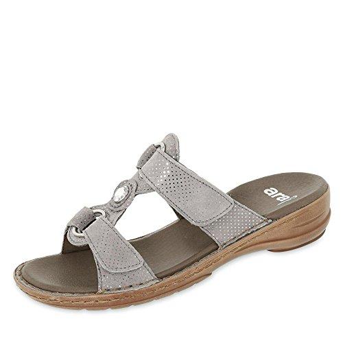 ara 12-27273-78 Damen Hawaii Pantolette mit Klettverschluss Luftpolstersohle Grau