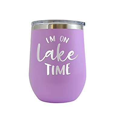Im On Lake Time Engraved 12 oz Wine Tumbler Cup Glass Etched - Funny Gifts for him, her, mom, dad, husband, wife (Lt. Purple - 12 oz)