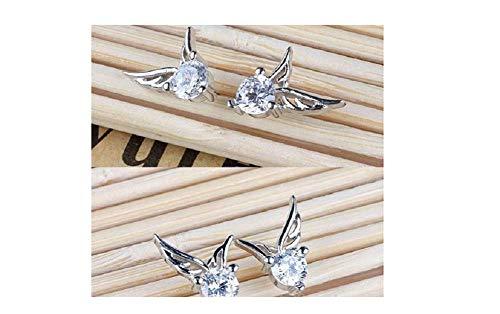 Jewelry Bird Wings of 18K White Gold Plated Crystal Ear Stud Earrings Zircon