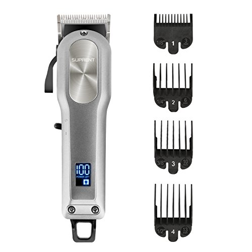 SUPRENT Cordless & Corded Hair Clippers for Men Professional Hair Cutting Kit with 2000mAh Lithium Ion, Titanium Ceramic Blade, Hair Trimmer with Lock-In Length (Silver) (Best Wireless Hair Clippers)
