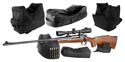 Target Shooting Bench (Ultimate Arms Gear Front, Middle and Rear Shooting Rifle Shotgun Bolt Action/Muzzle Loader Steady Shooter Support Bench Hand Arm Rest Bag, Holds 5 Round Ammo Holder Range Kit Set, 3 Piece)