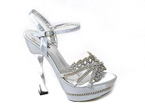 SKOS , Mädchen Damen Diamant-Sandalen Silver (0988-3)