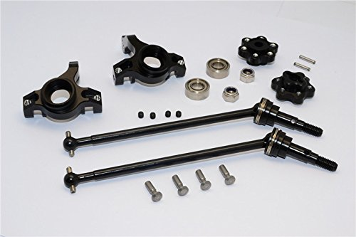 Axial Yeti (AX90026) & Yeti SCORE (AX90068) Upgrade Parts Aluminum Front Knuckle Arm With Hex Adapters & Steel Front CVD Drive Shaft - 6Pcs Set (Thickness Design) Black -