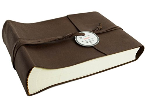 Capri Small Chocolate Handmade Italian Leather Wrap Photo Album, Classic Style Pages (22cm x 16cm x 6cm) by LEATHERKIND