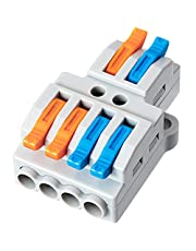 GKEEMARS 10 Pcs Lever Nut Connectors, Quick Wiring Cable Connector Push-in Conductor Terminal Block (2 in 4 out)