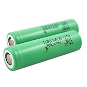 2 Samsung INR18650-25R 18650 2500mAh 3.6v Rechargeable Flat Top Batteries (Green)