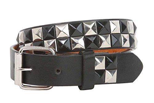 MONIQUE Kids Snap On Roller Buckle Black Studded Checkerboard Leather 1'' Belt,Black M - 24