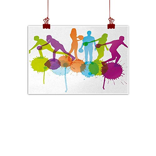 Home Wall Decorations Art Decor Bowling Party,Player Silhouettes Throwing Ball with Big Color Splatters Activity Fun Theme,Multicolor 36