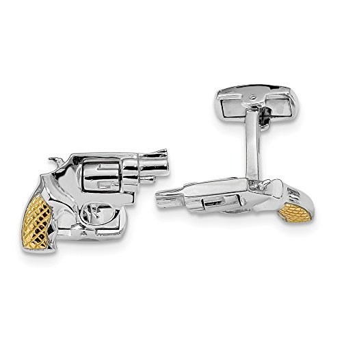 Best Designer Jewelry Sterling Silver Rhodium & Gold-plated Revolver Moveable Barrel Cuff (Designer Gold Plated Cufflinks)