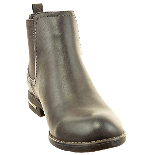 Sopily - Zapatillas de Moda Botines chelsea boots A medio muslo mujer piel de serpiente metálico Talón Tacón ancho 2.5 CM - Gris