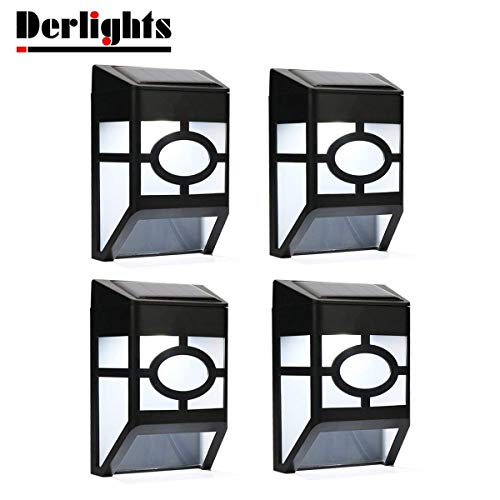 Derlights Waterproof Solar Powered LED Wall Light for Outdoor Landscape Garden Yard Lawn Fence Deck Roof Lighting Decoration (4pcs)