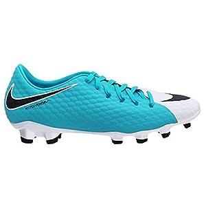 NIKE Junior Hypervenom Phelon III FG Football Boots 852595 Soccer Cleats (UK 4.5 us 5Y EU 37.5, White Black Photo Blue 104)