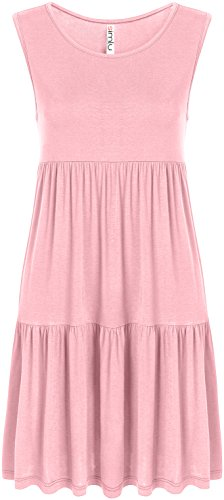 Casual Tiered T Shirt Dresses for Women Reg and Plus Size Summer Sundress - USA Baby Pink Sleeveless Small, Baby Pink Sleeveless, Small ()