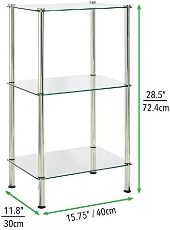 home, kitchen, storage, organization, racks, shelves, drawers,  standing shelf units 9 discount mDesign Bathroom Floor Storage Rectangular Tower, 3 Tier in USA