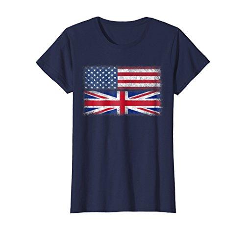 Womens British American Flag T-shirt England Usa English Union Jack XL Navy