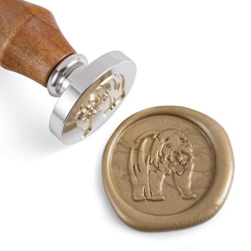Seal Wax Bear - Mceal Wax Seal Stamp,Silver Brass Head with Rosewood Handle, 1.2