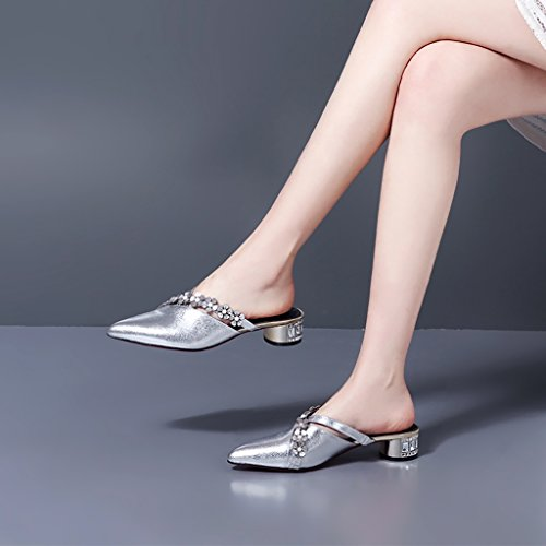 Sandals ZCJB Cool Slippers Female Summer Fashion Baotou Half Slipper Flat Bottom Pointed Rhinestone Outer Wear Leather White gpUUl0