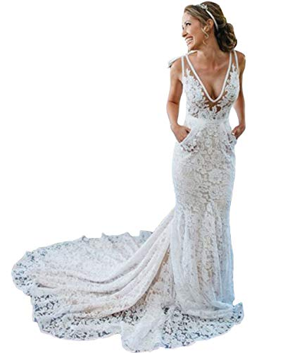 Tsbridal Bohemia Mermaid Wedding Dresses Lace Bridal Dresses Beach Garden Ivory Bridal Gowns with PocketXC281-Ivory8
