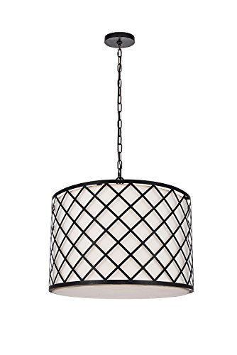 Dst Metal Round Pendant Chandelier Light with TC Fabric Shade and 6 Bulb Holders, Antique Black Paint Chandelier Ceiling Light, Size: Φ24.02 inch/41 cm H:17.26 inch/48 cm,Chain Length: 60 inch/150 ()