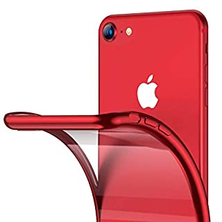 RANVOO iPhone SE Case 2020, iPhone 8/7 Case, Clear Soft Slim Fit Thin Case with Premium Flexible Chrome Bumper and Transparent TPU Back Plate Gel Cover for Apple iPhone SE(New)/8/7, Crystal Red