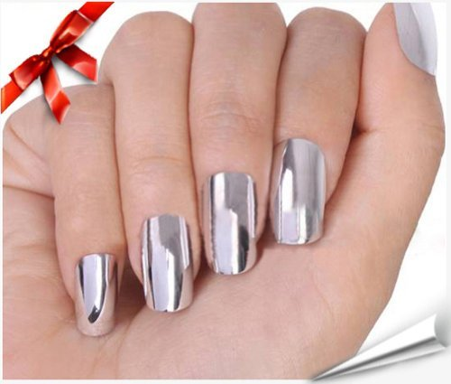 So Beauty Nail Art Polish Silver Metallic Foil Sticker Patch Wraps Tips 16pcs