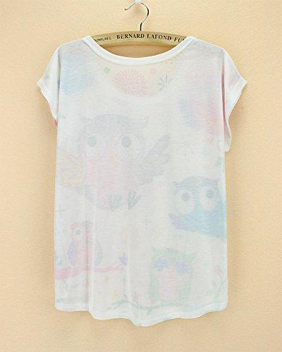 manga Top Owl mujer verano Camiseta Acvip de y para con chaleco corta redondo cuello B4HTYwqH