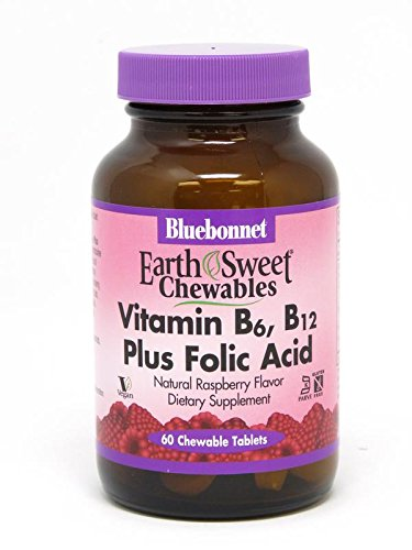BLUEBONNET Nutrition EARTHSWEET CHEWABLES Vitamin B-6, B-12 Plus FOLIC Acid