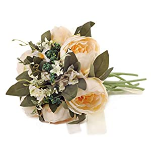 Mikilon Artificial Flower Rose Bouquet Fake Flowers Silk Plastic Artificial White Roses 6 Heads Bridal Wedding Bouquet for Home Garden Party Wedding Decoration (Beige) 64