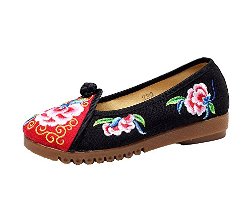 AvaCostume Loafer Shoes Toe Flats Black Embroidery Casual Womens Round Canvas ZqrZw