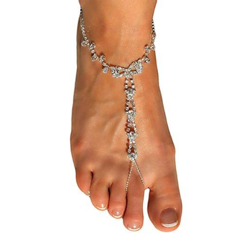 Barefoot Sandals Beach Wedding Themed Sparkling Crystal Clear Rhinestone Luxurious Anklet Elegant Design