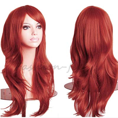 23 Inches Synthetic Cosplay Wig For Women Long Wavy Wig Heat Resistant Fiber Party Wig Natural as Real hair Colorful Hair (Dark orange) ()