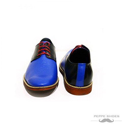PeppeShoes Modello Sassuolo - Cuero Italiano Hecho A Mano Hombre Piel Azul Zapatos Vestir Oxfords - Cuero Cuero Suave - Encaje